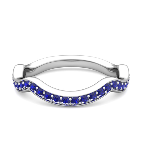 Curved wedding bands with sapphires