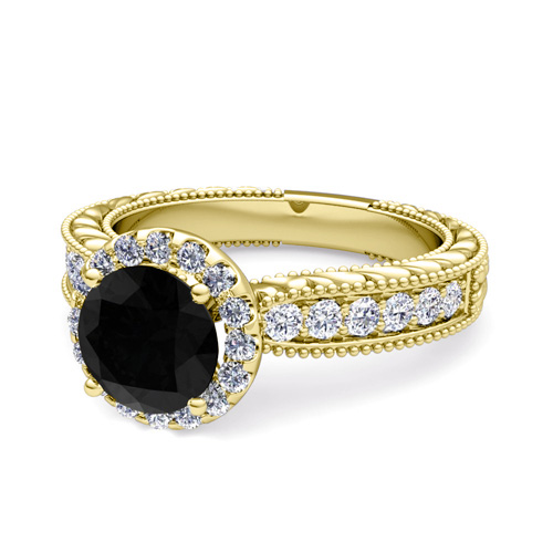 Vintage Black Diamond Engagement Ring 14k Gold 5mm Gem