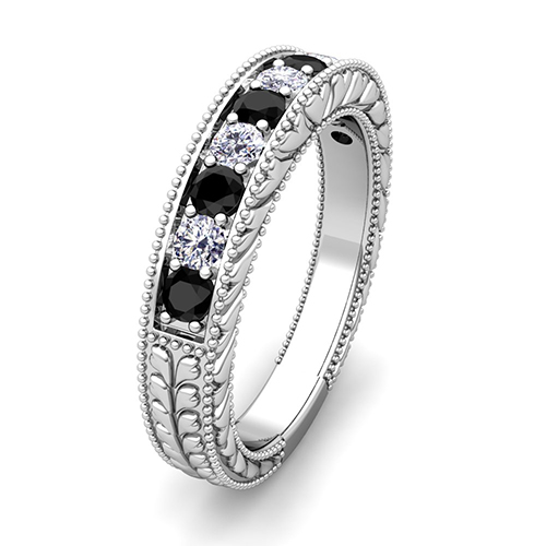 Vintage Black and White Diamond Wedding Ring Band in Platinum
