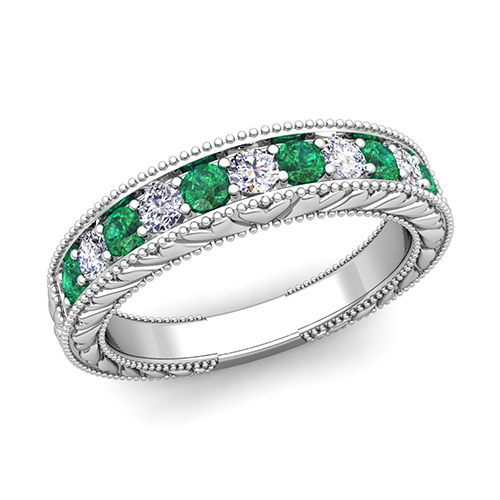 vintage inspired wedding band - Emerald Wedding Ring