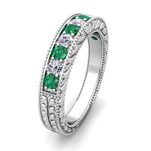 Vintage Inspired Wedding Band This Features Sparkling Diamonds And Emeralds Set
