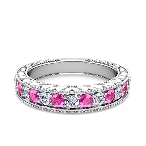 Vintage Diamond and Pink Sapphire Wedding Ring Band in 14k Gold