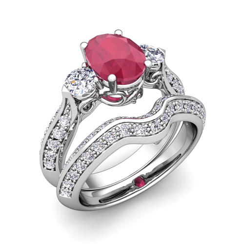order now ships on wednesday 628order now ships in 6 business days vintage inspired diamond and ruby three stone ring bridal set - Ruby Wedding Ring Sets