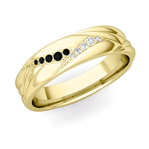 Wave Mens Wedding Band In 14k Gold Black Diamond Ring