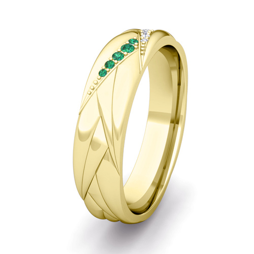 Wave Mens Wedding Band in 14k Gold Diamond and Emerald Ring