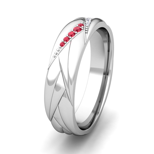 Wave Mens Wedding Band In 14k Gold Diamond And Ruby Ring