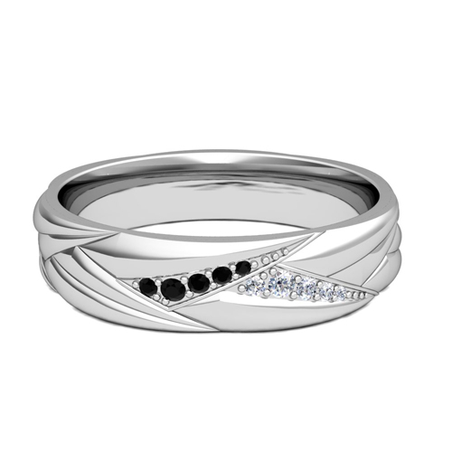 Wave Mens Wedding Band In Platinum Black Diamond Ring