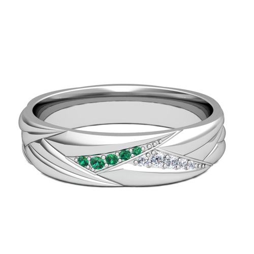 Wave Mens Wedding Band In Platinum Diamond And Emerald Ring