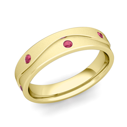 18k Gold Satin Wave Mens Ruby Wedding Band Ring