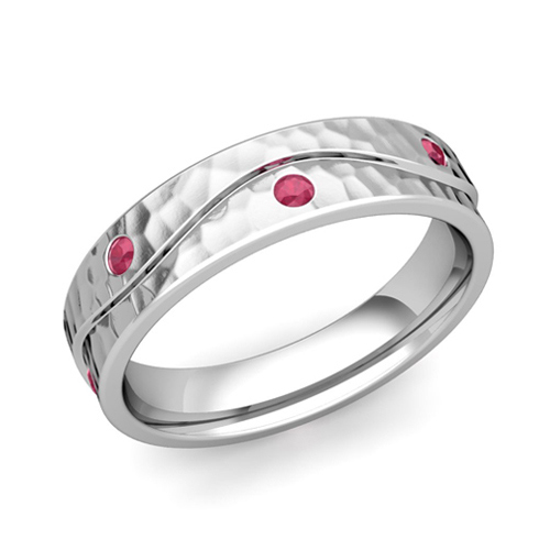 Platinum Hammered Wave Mens Ruby Wedding Band Ring