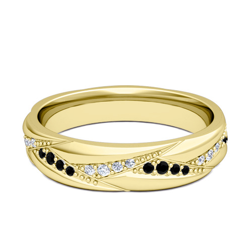 Wave Wedding Band in 14k Gold Black and White Diamond Ring