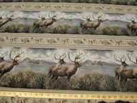 1 1/4 yards Regal Elk crossing frieze tapestry upholstery fabric