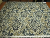 1 3/4 yards of Fabricut Caravelle cobalt blue paisley upholstery fabric