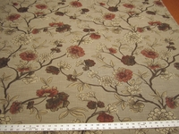 1 3/4 yards of heavyweight bloom and vine tapestry upholstery fabric