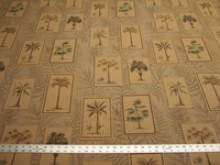 1 3/4 yards Royal Palm, palm tree tapestry upholstery fabric color teak