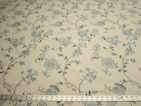 1 3/8 yards Stacy Lyn color bluebell embroidered upholstery fabric