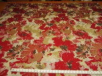 1 7/8 yards Robert Allen Tudor Grove Red Hot Floral Upholstery Fabric