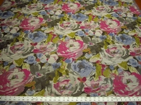 2 3/4 yards bright floral upholstery fabric