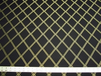 2 7/8 yards black, gold lattice formal upholstery fabric