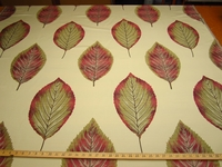 3 1/2 yards of Foliage Multi Color Single Leaf Jacquard upholstery fabric color opal