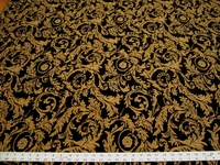 3 1/4 yards of black and gold leaf chenille upholstery fabric