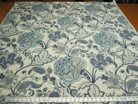 3 1/4 yards of blue floral linen print drapery fabric