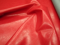 3 3/4 yards of grained Chinese red vinyl upholstery fabric