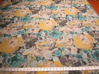 3 3/8 yards Robert Allen Truro Floral Upholstery Fabric Color Turquoise