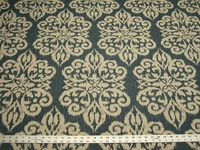 3 yards of Bahlal blue print ikat brocade upholstery fabric