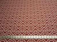 3 yards of cherry red geometric upholstery fabric