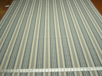 4 3/8 yards of blue stripe upholstery fabric