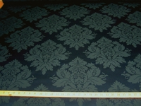 4 7/8 yards of sapphire blue damask upholstery fabric