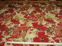 4 7/8 yards Robert Allen Tudor Grove Red Hot Floral Upholstery Fabric