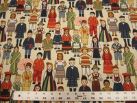 Children of the World print jacquard upholstery fabric