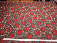 Christmas poinsettias tapestry upholstery fabric