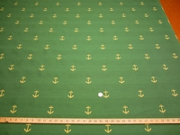 ft107, Nautical anchors jacquard upholstery fabric color green