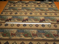 """Gallatin"" Grizzly Bear, Deer tapestry frieze upholstery fabric"