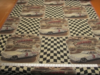Junior Johnson racing themed tapestry upholstery fabric