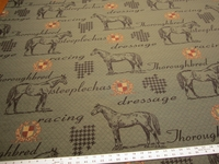 "Marlatex ""Thoroughbred"" horse theme upholstery fabric color duster"