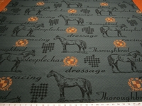 "Marlatex ""Thoroughbred"" horse theme upholstery fabric color lakeside"