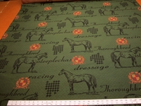 "Marlatex ""Thoroughbred"" horse theme upholstery fabric color woodland"