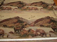 r9843, 4 7/8 yards Rocky Mountains scenic tapestry upholstery fabric