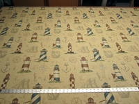 Regal Lighthouse Tapestry upholstery fabric per yard