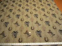 Regal tapestry with boots & saddles western upholstery fabric