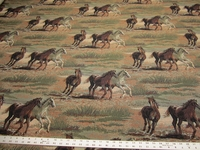 Stallions wild horses western tapestry upholstery fabric