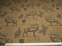 """Wapiti"" elk themed upholstery fabric color parchment"