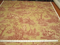 Waverly Idyllic Days Toile Print Fabric Color Ruby