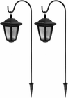 2 Pack Solar Hanging Lantern Natural White LED 1.2 Lumens