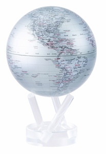 """4.5"""" Silver Earth MOVA Globe with automatic rotation feature"""