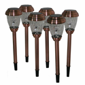6 Pack Copper Charleston Solar Pathway Lights